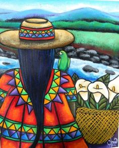 Original Oil Painting by Efrain Antonio; Watercolor Illustration, Watercolor Art, Collage Drawing, Drawing Tips, Polymer Clay Painting, Mexican Paintings, Southwestern Art, Chicano Art, Mexican Folk Art