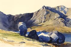 Rocks near Llyn Idwal, an original watercolour painting by Rob Piercy