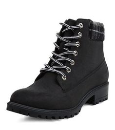 Black Check Cuff Lace Up Ankle Boots