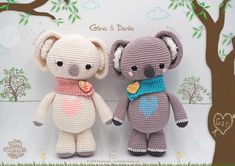 Pattern Free Amigurumi Koalas The Gina & Dante of St. Get to know us . Crochet Bunny, Love Crochet, Crochet Animals, Crochet Dolls, Crochet Toys Patterns, Amigurumi Patterns, Amigurumi Doll, Stuffed Toys Patterns, Crochet Projects