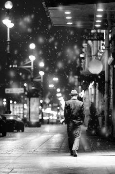 a rainy evening stroll
