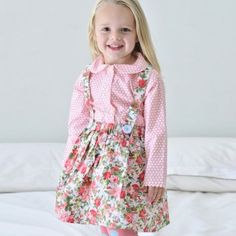 Little Dove Pink Roses Skirt & Braces - Oobi.com.au