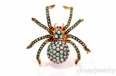 Estate 3.16ct Emerald Ruby Opal Gold Large Spider Pin 20.4 Grams NR