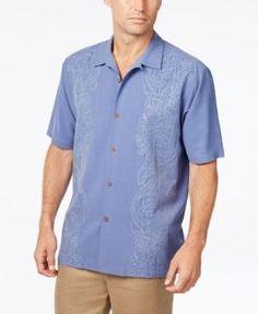 Tommy Bahama Men's Verdara Vines Floral-Embroidered Silk Short-Sleeve Shirt  - Blue XXL