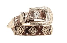 aed5164d46e7b Nocona Ladies 1 1 2 Inch Snake Print Belt with Maltese Cross Conchos and  Rhinestones