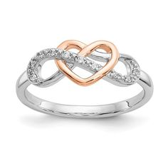 Pandora Jewelry OFF!> Sterling Silver and Rose Gold Diamond Heart Infinity Ring – Sparkle Jade Leaf Engagement Ring, Antique Engagement Rings, Antique Rings, Rose Gold Diamond Ring, Gold Diamond Wedding Band, Diamond Heart, Diamond Jewelry, Snake Jewelry, Jewelry Rings