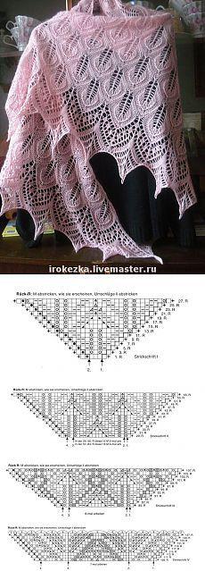 "Knit diagram for shawl, wrap, batwing scarf Треугольная шаль "" Танцующие листья """