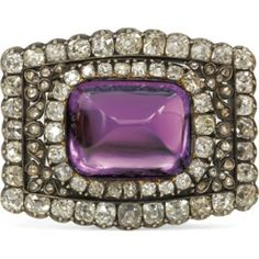 GRAFF AMETHYST JEWELRY | Victorian Sugarloaf Amethyst and Diamond Pin