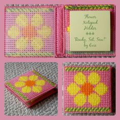 "⚘⚘⚘ Flower Notepad Holder SALE! $6.00 ⚘⚘⚘ -- ""Ready, Set, Sew!"" by Evie (Etsy). . .holds a 3-inch square sticky notepad."