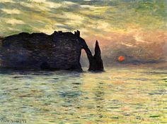Claude Monet. The Manneport, Cliff at Etretat, Sunset (1883).