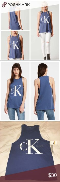 Calvin Klein Logo Top * A casual chic sleeveless tank top with classic Calvin Klein Jeans logo in center, in a versatile color called bijou blue. Super comfortable blend of cotton and modal material, with a racerback design and seaming details. * Easy to throw on for casual events; on trend style. * Size available: X-Small (armpit to armpit laid flat: 17.5 in), Small (18.5 in), Medium (19.5 in); the length is approx: 27 in * Quantity: Price is for one top only * Feel free to ask any…