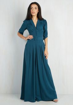 The Embolden Age Jumpsuit in Teal - Blue, Solid, Belted, Party, Work, Casual, Vintage Inspired, 70s, Short Sleeves, Variation, Fall, Full length, Winter, Colorsplash
