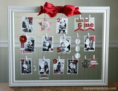 This is a great idea for display santa photos, Halloween costumes over the years or birthday pics, school pics. I think I like it better then my santa pics display Holiday Photo Frames, Christmas Photos, Christmas Themes, All Things Christmas, Holiday Crafts, Holiday Fun, Christmas Holidays, Christmas Decorations, Holiday Decor