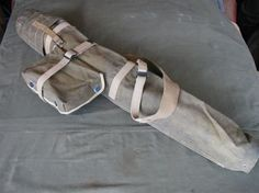WW2 Signal Corps BG-73 Tripod Bag with flip top and matching accessory pouch.