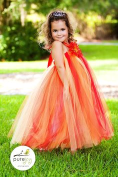 Gorgeous orange and red flower girl dress.