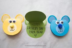We've gathered 11 homemade gifts for Father's Day. From handmade cards and tiny footprints to super cute cookies, these homemade gifts for dad are sure to make his day. Kids Fathers Day Crafts, Dad Crafts, Happy Fathers Day, Easter Arts And Crafts, Christmas Crafts For Kids, Diy Father's Day Gifts, Father's Day Diy, Tie Template, Bear Template