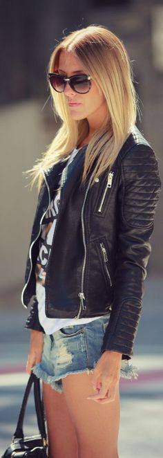 Biker Jacket ~ Summer Into Fall Outfits ~ 60 New Styles