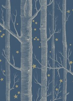 Cole and Son's Whimsical range wallpaper , woods and stars, Midnight,stunning range of modern and classic children's wallpapers online | Nubie - Modern Baby Boutique