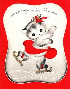 1940s Christmas card - skating kitten
