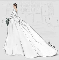 by Natalie Rompotis Wedding Dress Drawings, Wedding Dress Illustrations, Royal Wedding Gowns, Royal Weddings, Wedding Dresses, Eugenie Wedding, Dress Design Drawing, Eugenie Of York, Isabel Ii