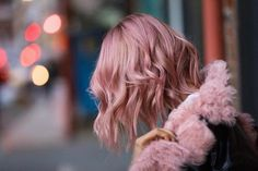 short wavy dusty pink hair color