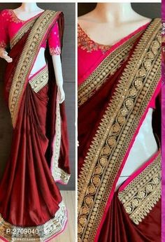 Rangoli Silk Embroidered Bollywood Saree with Blouse piece