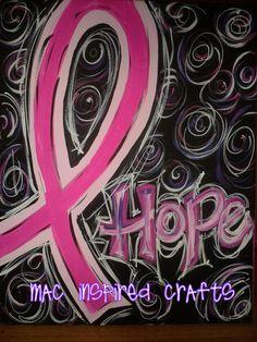 Handpainted Cancer Awareness Ribbon Artwork by MACInspiredCrafts, $50.00