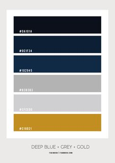 Deep Blue Bathroom Gold Color Palettes, Grey Palette, Gold Color Scheme, Blue Colour Palette, Blue Color Schemes, Dark Blue Color, Bedroom Color Schemes, Bedroom Colors, Deep Blue