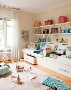 another shared room idea . . . toys on the shelves, clothes in the drawers, and a whole lot of play area