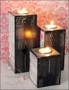 Papier Fantasees - Blog Rzemiosła: Oprawka T-Light z teksturą z drewna