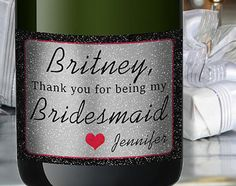 Bride Mini Champagne Labels Maid of Honor by LabelByLoveArts