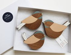 set of three coal tit wall birds by anna wiscombe | notonthehighstreet.com