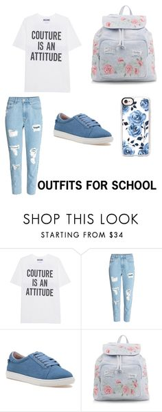 """Floral themed school outfit"" by jessica-macfarlane on Polyvore featuring Moschino, J/Slides, New Look and Casetify"