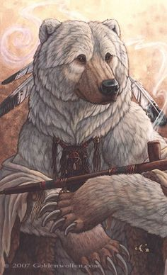 ✯ Bear of Peace ..  Ancient one with wise, old eyes. Keeper of the Peace Pipe, and bearer of gentle strength. :: Artist Christy Grandjean ✯