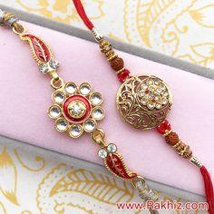 Graceful Metallic Set Of 2 Rakhis Rakhi Bracelet, Buy Rakhi Online, Handmade Rakhi Designs, Rakhi Making, Gold Jewelry, Jewelry Necklaces, Ankle Bracelets, Wild Life, Online Gifts