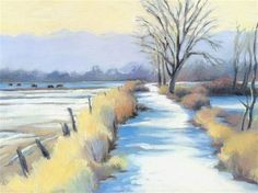 """Daily Paintworks - """"Pella Path looking West"""" by Kathleen Reilly"""