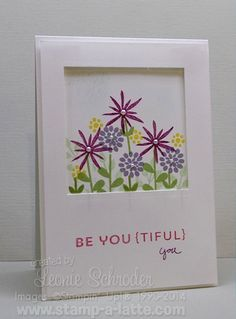 Framed Flowers using Flower Patch from #stampinup. A great quick and easy card and one that would brighten up anyone's day!  Check my blog for my tip for this card.#flowerpatch #quickandeasy