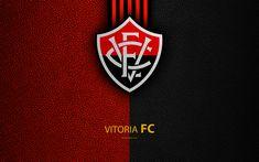 Download wallpapers EC Vitoria FC, 4K, Brazilian football club, Brazilian Serie A, leather texture, emblem, logo, Salvador, Bahia, Brazil, football