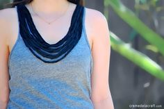 #DIY: Give your tank top a draped necklace look using t-shirt scraps