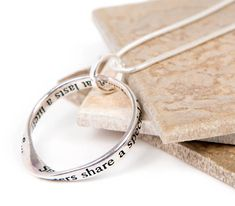 Sisters Bond Silver Plated Message Necklace