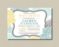 Items similar to Printable Bridal Shower Invitation - Retro Flowers Mint, Yellow and Grey on Etsy Wedding Invitation Design, Bridal Shower Invitations, Invites, Retro Flowers, Yellow Flowers, Mint Bridal Showers, Wedding Themes, Wedding Ideas, Save The Date