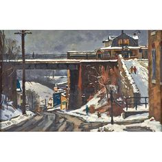 "Antonio Pietro Martino, Shurs Lane Bridge, Oil on board (framed), Signed and titled, 13 1/8"" x 20"", Estimate: $6,000 - $8,000, Winning Bid: $8,960"