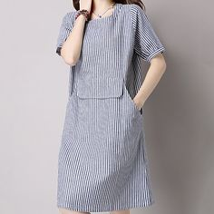 Women's Daily Going out Work Cute Casual Chinoiserie Loose Dress,Striped Round Neck Knee-length Short Sleeves Cotton Linen Summer Mid Rise - USD $16.99 ! HOT Product! A hot product at an incredible low price is now on sale! Come check it out along with other items like this. Get great discounts, earn Rewards and much more each time you shop with us!