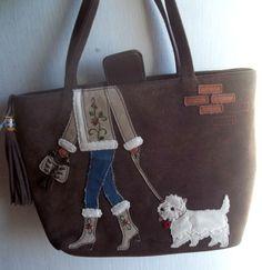 WESTIE west highland terrier PUPPY DOG walker LEATHER HANDBAG purse