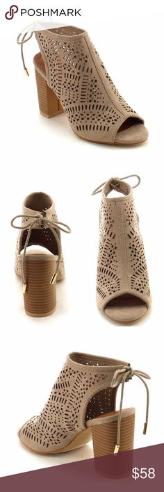 """Laser cut Sandal Bootie Laser cut Sandal Bootie. Peep Toe. Back closure. Color Taupe, stack chunky heel approx 3"""". Man made suede. Fabfindz Shoes Ankle Boots & Booties"""
