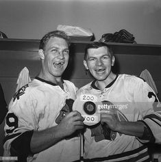 Bobby Hull (posing in this photo with Stan Mikita) turns 73 today. (Bruce Bennett/Getty Images) GALLERY: Hockey's All-Time Best Toothless Smiles Chicago Blackhawks, Blackhawks Hockey, Ice Hockey Players, Hockey Teams, Hockey Stuff, Hockey Sport, Flyers Hockey, Rangers Hockey, Hockey Girls