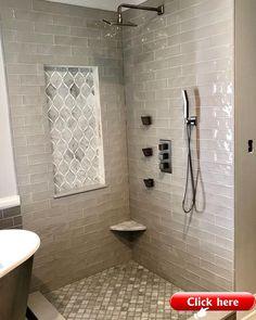 Bathroom Grey, Master Bathroom Shower, Bathroom Interior, Bathroom Showers, Bathroom Canvas, Bathroom Mirrors, Simple Bathroom, Tiled Showers, Shiplap Bathroom