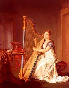 Moritz, Louis (1773-1850) - Playing the harp
