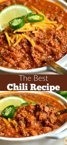 The BEST Chili Recipe. This is an amazing chili made with bacon ground beef ve The BEST Chili Recipe. This is an amazing chili made with bacon ground beef vegetables beans and tasty combination of spices to make chili seasoning. Bacon Chili Recipe, Classic Chili Recipe, Chilli Recipes, Bacon Recipes, Mexican Food Recipes, Soup Recipes, Cooking Recipes, Healthy Recipes, Dinner Recipes