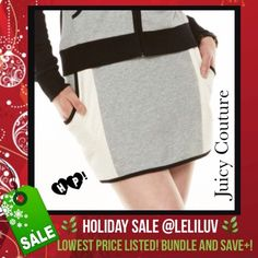 """HP🌿JUICY COUTURE quilted mini skirt w/ pockets! NWT😻Cotton/polyester mini-skirt with quilted pockets/sides. 😘Middle is gray in front and black in the back.😘Black elastic waist. 😘Pockets and trim in black. 🌷HPx3!🌷""""Holiday Style"""" by @dollface86 12/5/14🌷""""Cozy Chic"""" by @lifeisgood63 12/24/15🌷""""Sweater Weather by @kanyejoyner 1/2/16🌷  🚫No trades 🚭Smoke-free 🐶Pet-friendly 🌺🌹Thanks for shopping @leliluv!🌹🌺 Juicy Couture Skirts Mini"""
